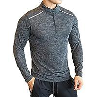 Men's 1/2 Zip, Half Zip, Elasticated and Breathable Long Sleeve Training, Running Top/Tshirt. Lightweight Half Zip…