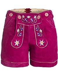 Damen Trachten Lederhose m. Trägern Pink Größe 32-46