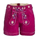 Damen Trachten Lederhose m. Trägern Pink Größe 44