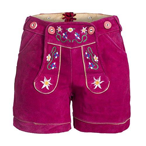 Damen Trachten Lederhose m. Trägern Pink Größe 40