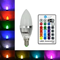 Lonove E14 - Lampadina a infrarossi con telecomando per cambiare il colore della fiamma di candela con lampadine 3W colori RGB: rosso, verde, blu