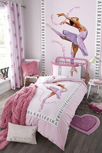 Catherine lansfield, biancheria per camera da letto, motivo con ballerina, rosa, pink, singolo
