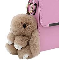 80Store Newest Christmas Gift Faux Fur Cute Mini Rabbit Doll Keychain Car Key Ring Women's Bag Charm Handbag Pendant 13CM (Khaki)