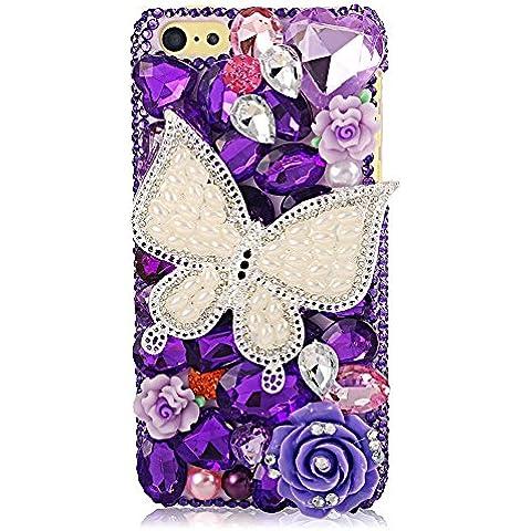 EVTECH (TM) para Iphone 5C 3D hecho a mano cristalino de Bling de la mariposa y de las flores coloridas del diamante del Rhinestone cubierta del estuche rígido (100% Artesanal)