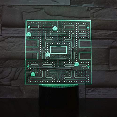 Usb 3D Led Nachtlicht Pac Man Multicolor Rgb Dekorative Lichter Jungen Kind Kinder Baby Geschenke Spiel Pacman Tischlampe Nacht