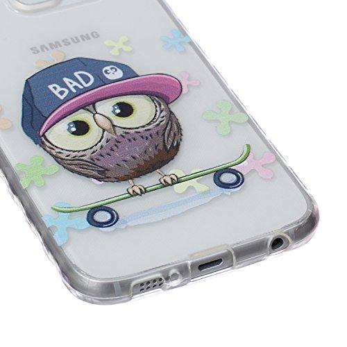 Ekakashop Coque pour Samsung Galaxy S6 SM-G920F, Ultra Slim-Fit Flexible Souple Housse Etui Back Case Cas en Silicone pour Galaxy S6, Soft Cristal Clair TPU Gel imprimée Couverture Bumper de Protectio Hibou