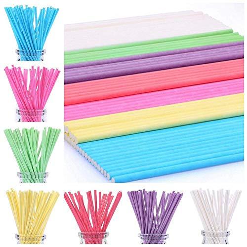 (IrahdBowen 100 Kunststoff Pastell Farben Kuchen Pop Sticks 15 cm Bunte Kuchen Lollipop Sticks Küche Handwerk Sticks)