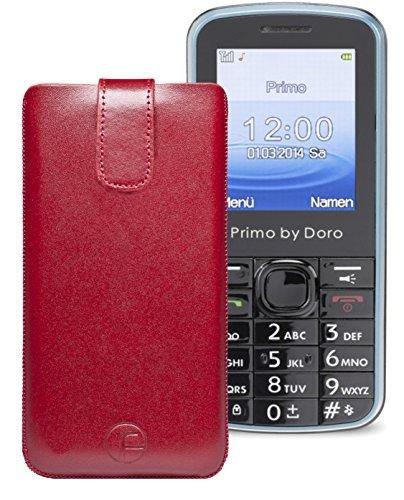 Original Favory ® Etui Tasche für / Primo 305 by Doro / Leder Etui Handytasche Ledertasche Schutzhülle Case Hülle *Lasche mit Rückzugfunktion* In Rot