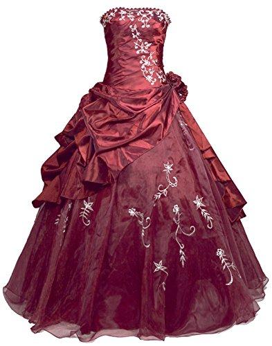 Faironly R37 Frauen Trägerlosen Abendkleid Ballkleid (S, Burgund)