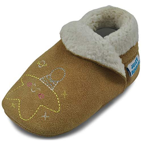 Juicy Bumbles Hausschuhe Kinder Lauflernschuhe Krabbelschuhe Baby Slippers - Braun Mond und Sterne - 12-18m 22/23 EU