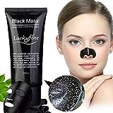 Gesichtsmaske Black, Luckyfine 60g Head Mud Mask Blackhead Peel Off Mitesser Maske, Tiefenreinigende Gesichtsmaske, Bamboo Charcoal Schwarz Maske, Porenreiniger Maske, Blackhead Killer Mitesser Maske