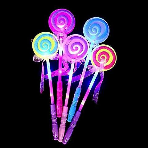 Lugii Cube fête Décor à LED Lollipop Glow Stick Filles clignotant Baguette de fée enfants jouet