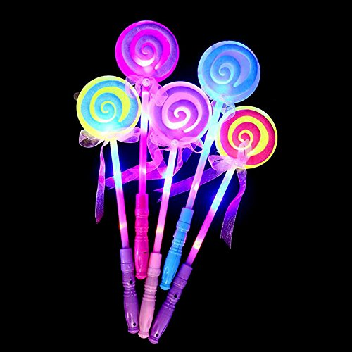 Lanlan Party Decor LED Light Up Lollipop Glow Stick Mädchen Zauberstab, blinkend Kinder Spielzeug