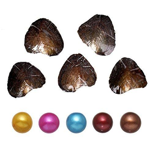 Ostriche con all'interno perle d'acqua dolce, perle sferiche adorabili, da 7-8mm, regalo di anniversario, matrimonio e compleanno, 5 pezzi, colori misti
