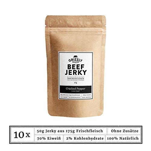 Beef Jerky • Aus Deutschland • Trockenfleisch vom Rind im Set • Cracked Pepper • >70% Eiweiß (10 x 50g = 500 Gramm)