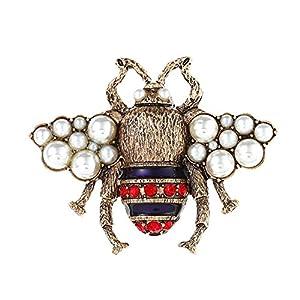 Fengteng Vintage Bronze Farbe Biene Fliegen einzigartige Brosche Schöne Perlen Biene Form Brosche Nadel Anstecker Frauen Brooch Geschenk Schmuck
