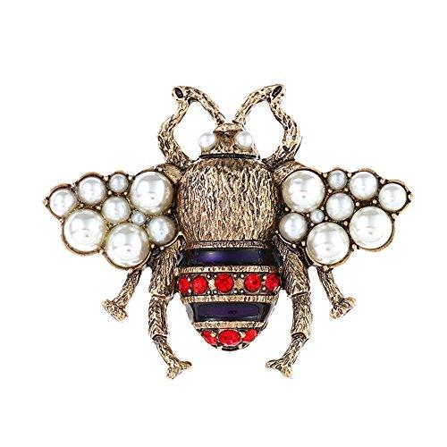 Fengteng Vintage Bronze Farbe Biene Fliegen einzigartige Brosche Schöne Perlen Biene Form Brosche Nadel Anstecker Frauen Brooch Geschenk Schmuck (Mehrfarbig)