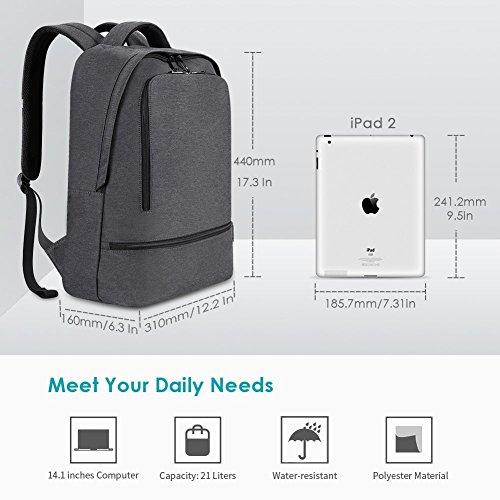 REYLEO Zaino per PC, Laptop Portatile Backpack con Porta USB Casual Impermeabile Unisex per La Scuola e Il Lavoro Fino a 26L (Grigio) - 5