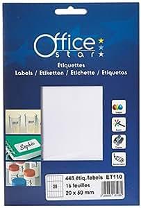 Office Star ET110 448 Étiquettes 20 x 50 mm Blanc Lot de 10
