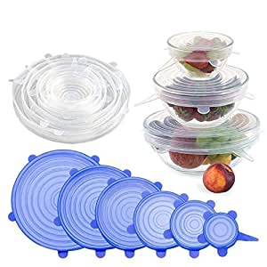 House of Quirk Reusable Silicone Stretch Lids, Durable Food Storage Covers for Bowls, Fit Different Sizes & Shapes of Container, Dishwasher & Freezer Safe (Pack of 6)