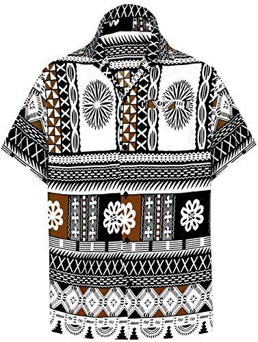 LA LEELA Herren-Bademode Partei Luau Urlaub Thema Hawaiihemd XXL-Brustumfang (in cms):137-149 Braun_AA105