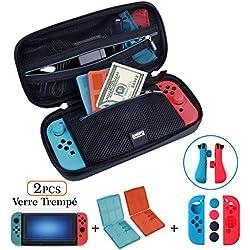 【Kit Custodia per Nintendo Switch】 Custodia per Nintendo Switch e Borsa per Giochi e Accessori/Proteggi Schermo/Set Protettivo per Joy-con/Custodia per Game Card, Set 4in1 di ANGPO®