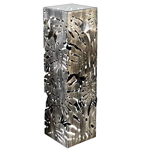 Casablanca Säule Flora Metall,brüniert H. 100 cm mit klarer Glasplatte BxHxT 27 x 100 x 27