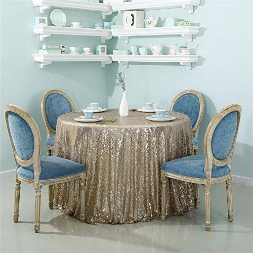 Zdada 126in Glitzernden Pailletten Rund Tischdecke Glitzer Pailletten Tisch Cover Bettwäsche für Elegante Hochzeit Party Event Banquet Dekoration (Light Gold)