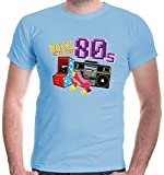 buXsbaum® Herren T-Shirt Back to The 80s | 80er Oldschool Party Disco | L, Blau