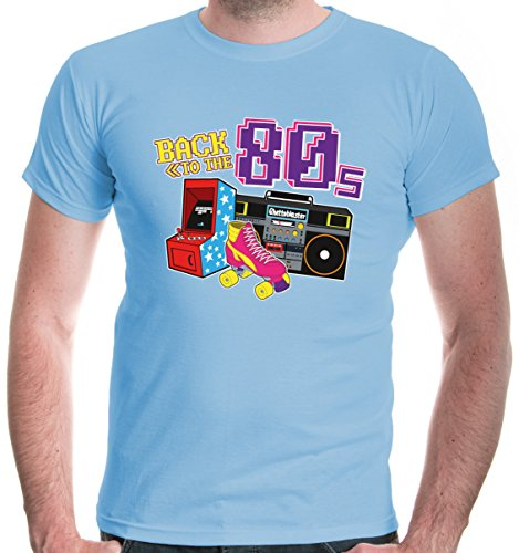 buXsbaum Herren T-Shirt Back to The 80s | 80er Oldschool Party Disco | S, Blau (Musik Motto Party Kostüme)