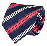 Fabio Farini blau-rot-weiß gestreifte 8 cm Krawatte, Anzug-Krawatten
