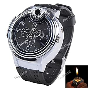 Tiny Deal Grey Dial Watch with Refill Butane Cigarette Lighter (FJL-138244)
