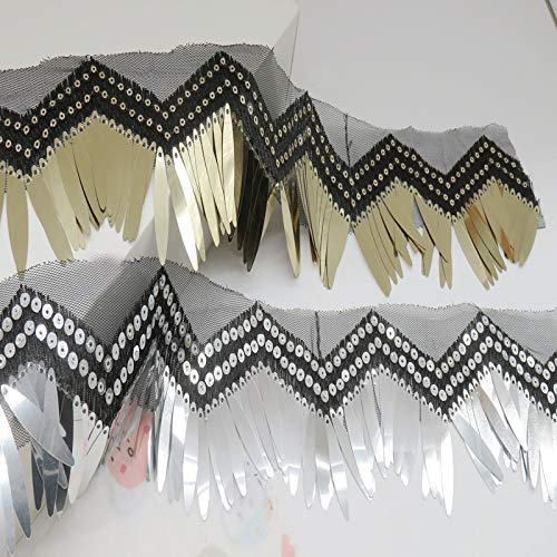 Verschiedene Arten Bauchtanz Kostüm - Lace Crafts SC377 - 2 Meter/Lot, 7 cm breit, goldfarben/silberfarben, Pailletten, Quaste, Spitze, handgefertigt, für Bühne, Bauchtanz-Kostüm, Zubehör Verschiedene Farben
