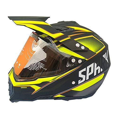 GL- Home Casco da Cross Nero e Giallo, Casco Cross da Moto con Visiera, Casco Integrale MTB Casco da Moto Downhill BMX Enduro Sport Protezione Sicurezz