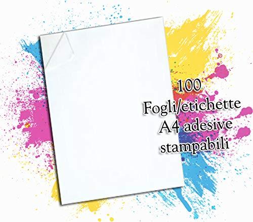 100 ETICHETTE BIANCHE SENZA MARGINE A4-100 FOGLI ADESIVI DA STAMPARE INK-JET, LASER, ECC