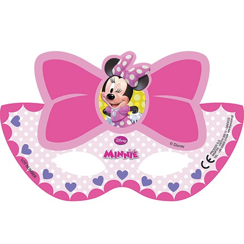 Procos 81687 - mascherine carta minnie bow tique, 6 pezzi, rosa