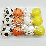 Zantec Set di Palle Soft Stress 12 PCS 6,3 Centimetri Mini Palle di Stress Morbido PU Calcio Pallacanestro Baseball Baseball Giocattolo per Allenamento Sportivo Pratica