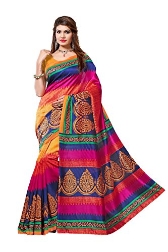 Sarees (Women's Clothing Saree For Women Latest Design Wear Sarees Collection in Multi Coloured Bhagalpuri Silk Material Latest Saree With Designer Blouse Free Size Beautiful Bollywood Saree For Women Party Wear Offer Designer Sarees With Blouse Piece)