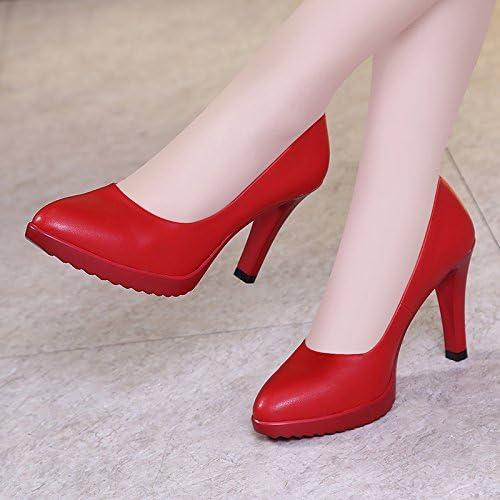 Jqdyl Tacones Zapatos de mujer de gran tamaño Cheongsam Pasarela Hembra fina con Zapatos puntiagudos solos Boca...