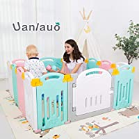 Uanlauo Foldable Baby Playpen Safety Play Yard for Toddler, Kids Activity Centre Indoor or Outdoor