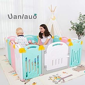 UANLAUO Laufgitter Laufstall Baby Absperrgitter 12+2 Paneele Krabbelgitter Schutzgitter für Kinder aus Kunststoff mit…