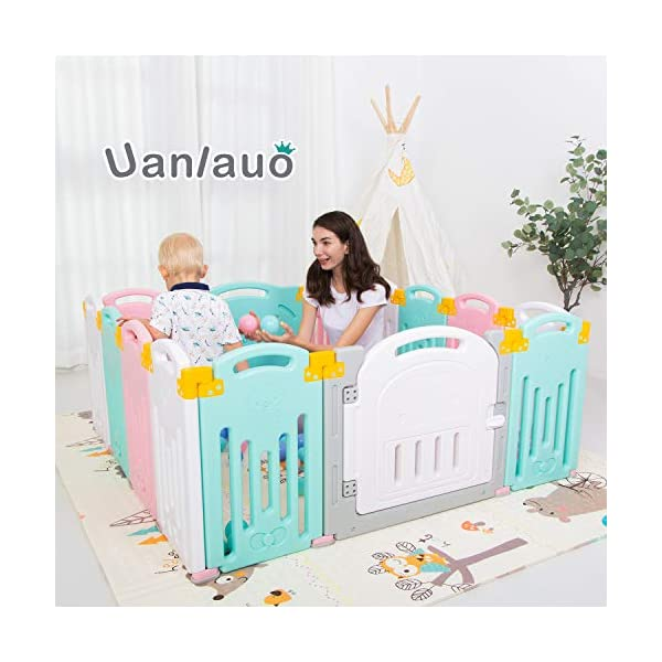 Foldable Baby Playpen Kids Activity Centre Safety Play Yard Home Indoor Outdoor New Version Uanlauo MOM'S LIFESAVER: Keep baby safe in there play centre when mom/dad needs to cook, clean up, go to the bathroom, etc. Foldable & Easy Packing: Designed with a simple fold and go deign. Easy to set up and take down within seconds.Convenient both indoor and outdoors. STURDY HOLDING: Specially designed rubber feet underneath of the yard so the parts don't go sliding around. 1