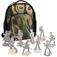 DURAGADGET Mochila Camuflaje Para Guardar / Organizar Las Figuritas Disney Infinity 3.0 - Star Wars + Funda Impermeable