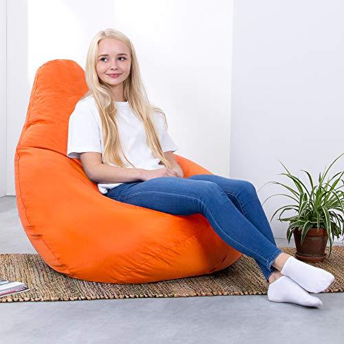 Bean Bag Bazaar® Sitzsack Outdoor Hohe Rückseite Tasche Stuhl, Polyurethan, orange, 70x 70x 118cm