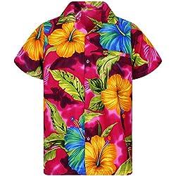 Funky Camisa Hawaiana, BigFlower, Pink, XXL