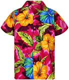 V.H.O Funky Chemise Hawaienne, Grande Fleur, rose, 4XL