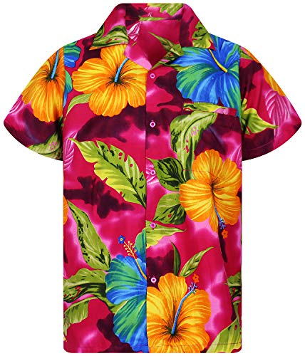 V.H.O. Funky Hawaiihemd, Kurzarm, Große Blume, pink, 4XL -