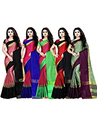 AIKA Women's Cotton Silk Woven Saree with Blouse Piece Combo of 5 (Multicolour)