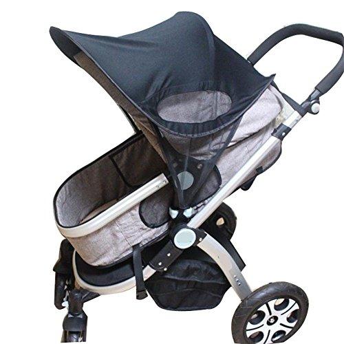 Kinderwagen Universal Sonnenschirm Ray Shade Pram UV Schutz Cover, Wetterschild, elastisches Gewebe für Infant Kids - Upgrade mit Mesh, schwarz Universal Pop-up-shade