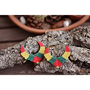 Hoop Ohrringe rot, gelb, grün, Rasta Flagge, afrikanische Rastafarian